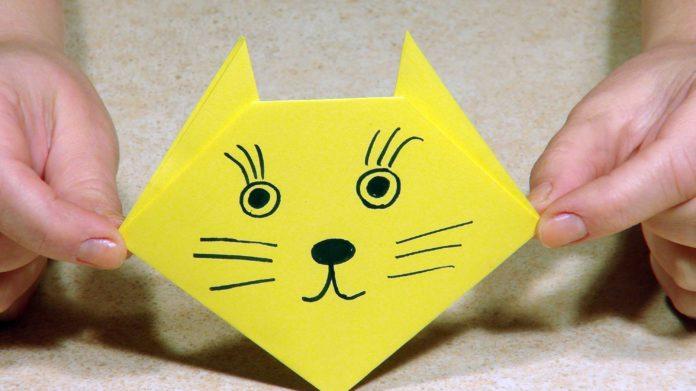 Оригами для детей «Кошка»