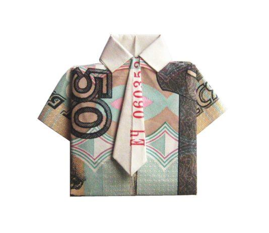 Оригами из денег — рубашка на 10 рублей