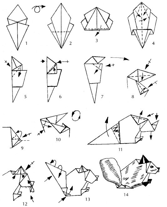 Оригами для детей «Белка»