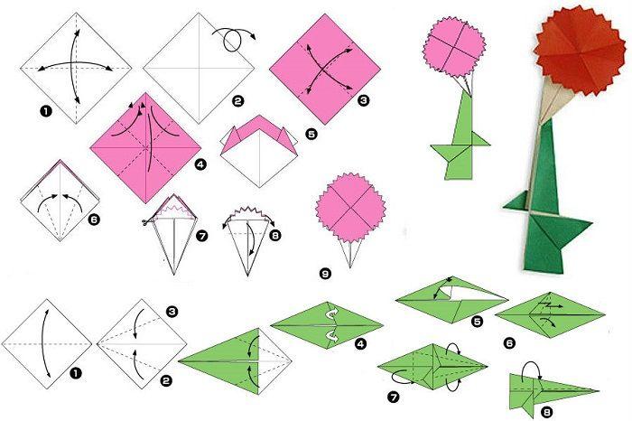 Как сложить цветок оригами