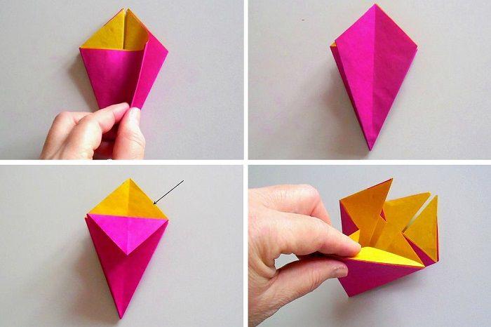 Отложить края цветной бумаги, разгладить