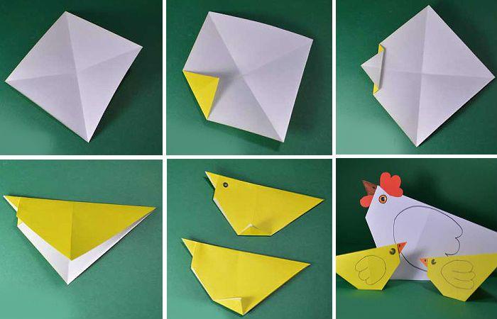 Желтый цыпленок оригами