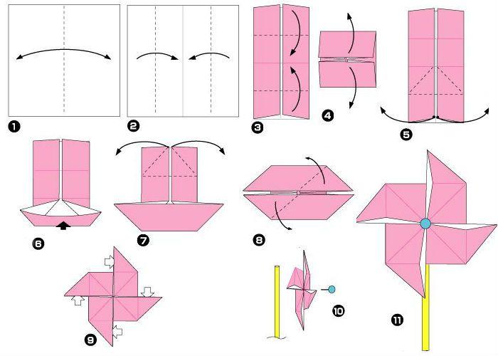 Схема сборки ветряной мельницы из бумаги