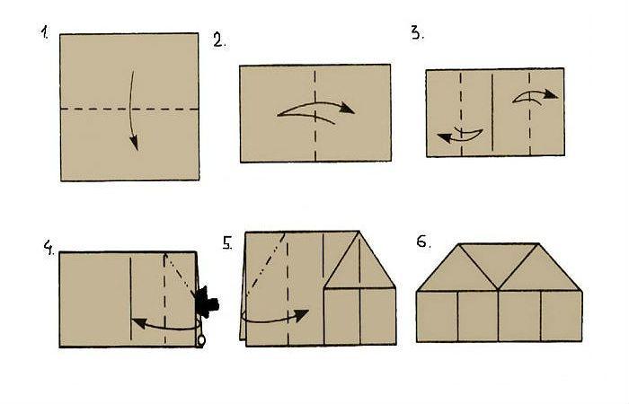Схема домика из бумаги