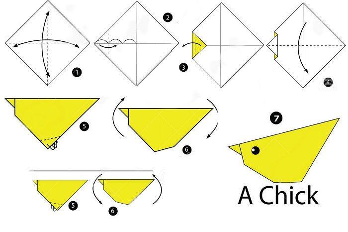 Схема сборки цыпленка оригами