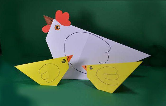 Курочка и цыплята оригами