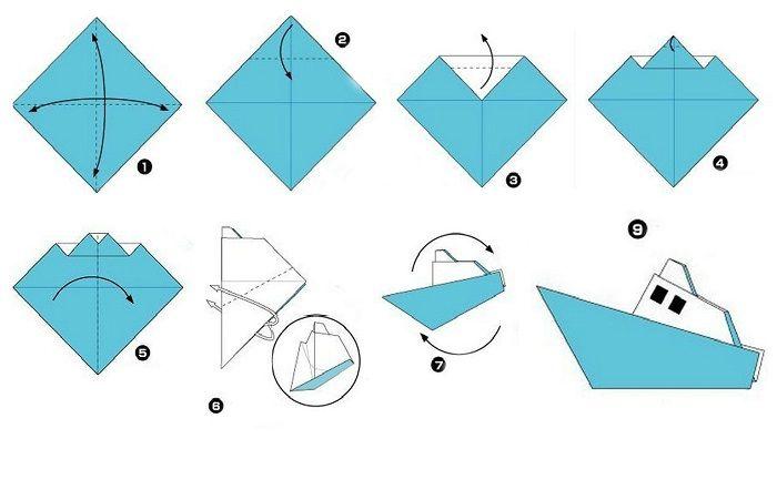 Схема сборки катера оригами