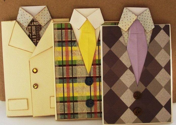 Открытка на день рождение галстук с рубашкой, юбилеем