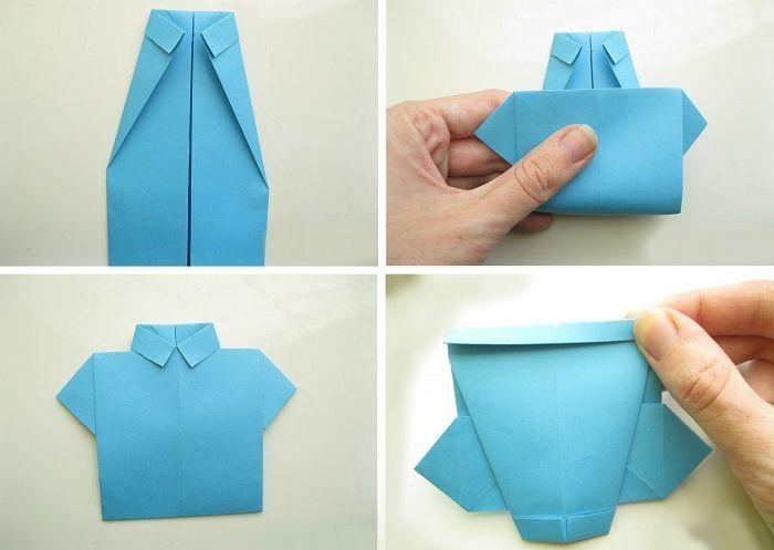 Открытка из оригами рубашка, днем татьяной