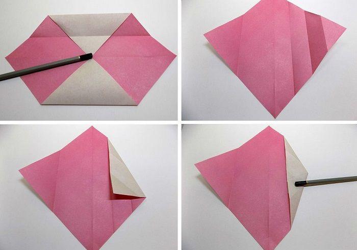 Расправить квадрат и сложить конвертиком