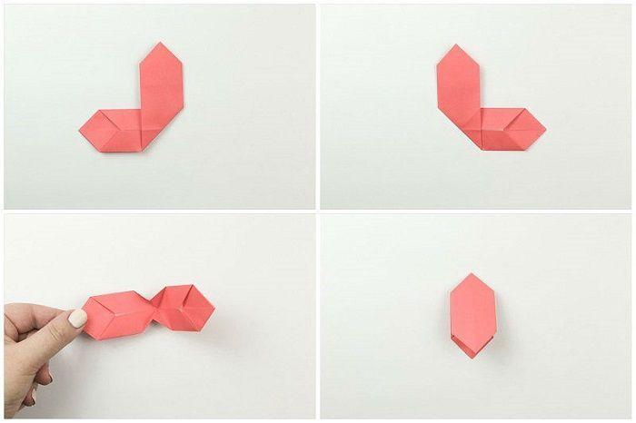 Правую часть согнуть по диагонали, перпендикулярно левой