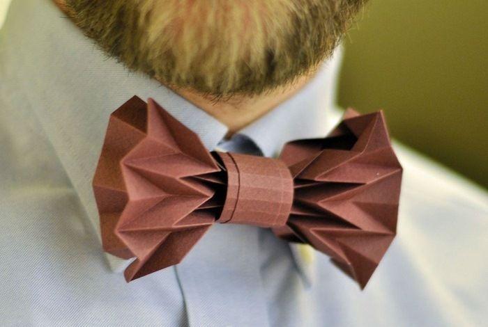 Галстук-оригами из бумаги