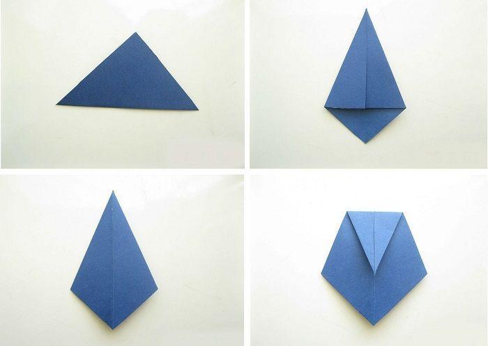 Квадрат в два треугольника, сгибая пополам