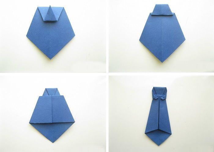 Складывание галстука оригами поэтапно