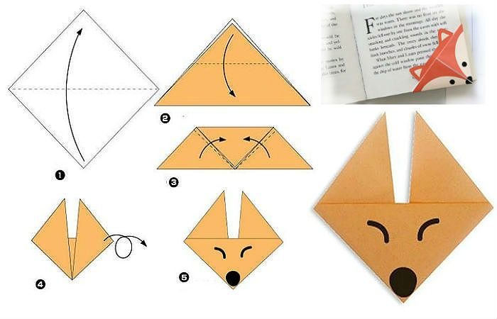 Схема лисички оригами