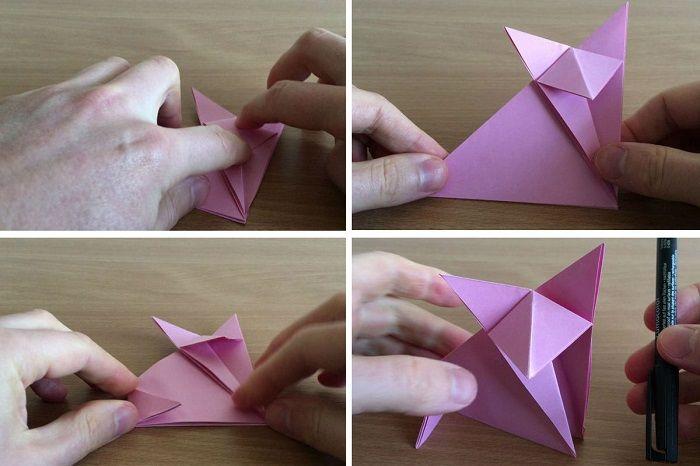 Туловище лисички из бумаги