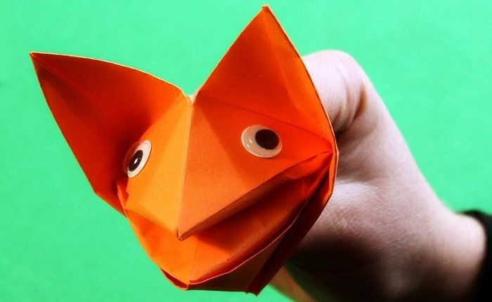 Голова лисички из бумаги