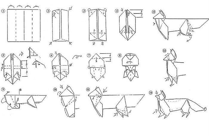 Лиса-оригами - схема