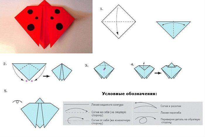 Классическое оригами из цветной бумаги