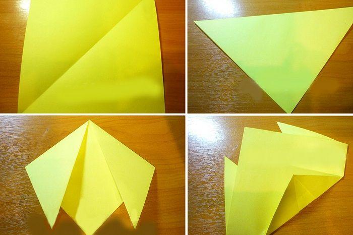 1. Квадрат превращаем в равнобедренный треугольник