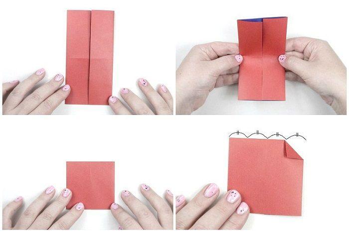 Складывание сердечка из бумаги: второй этап
