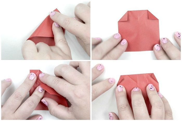 Складывание сердечка из бумаги: третий этап