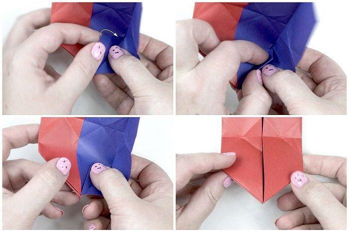 Складывание сердечка из двухцветной бумаги