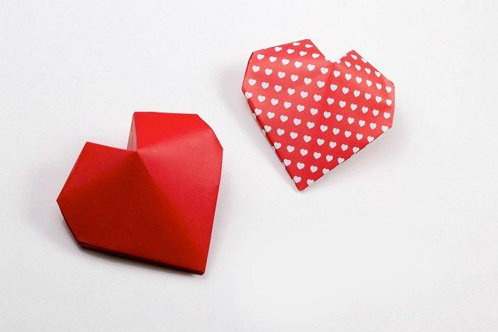 Объемное сердечко-оригами