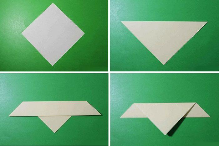 Голубь-оригами: этапы складывания 1-4