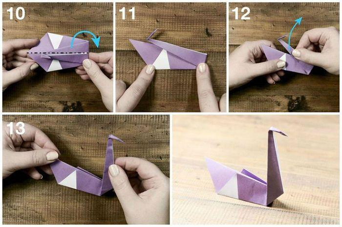 Сборка лебедя из бумаги: этапы 10-13