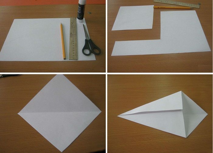 Жар-птица оригами: этапы складывания 1-4
