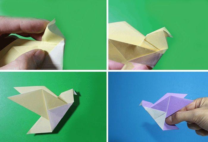 Голубь-оригами: этапы складывания 9-12