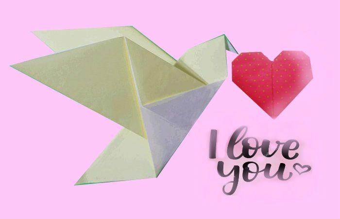 Голубь-оригами из бумаги