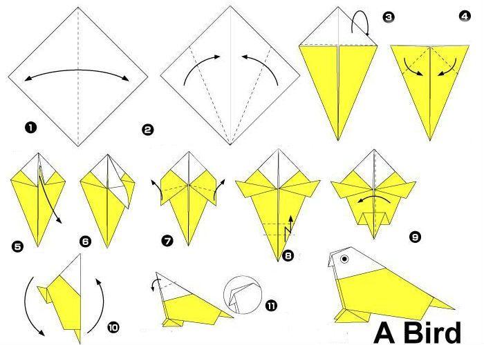 Схема попугая-оригами