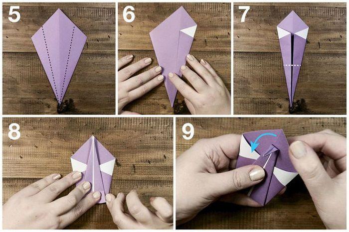 Сборка лебедя из бумаги: этапы 5-9