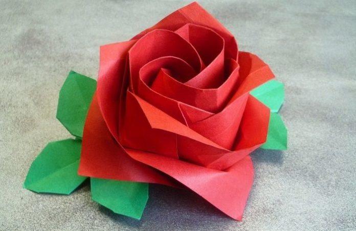 Роза - оригами