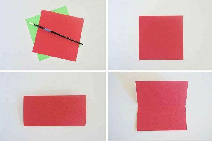 Простая роза-оригами: этапы складывания 1-4
