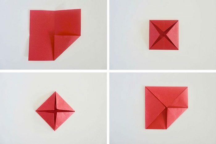 Простая роза-оригами: этапы складывания 5-8