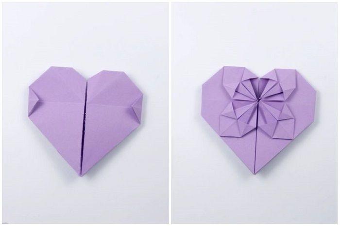 Сердце с цветком из бумаги