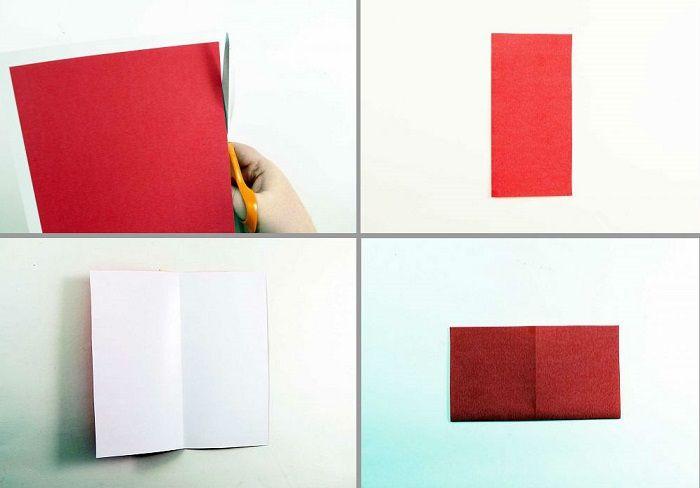 Сердечко-оригами с крылышками: шаги 1-4