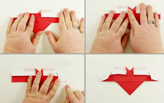 Сердечко-оригами с крылышками: шаги 13-16