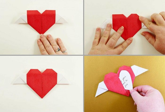 Сердечко-оригами с крылышками: шаги 17-20