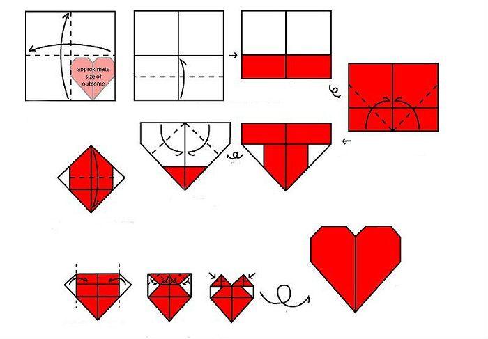 Схема сборки сердца оригами