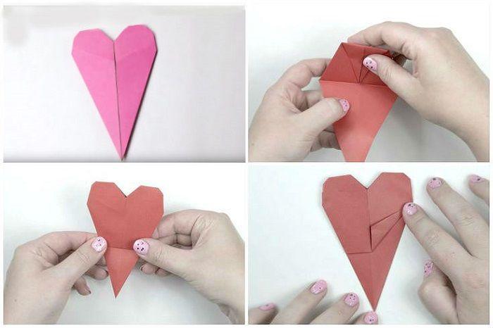 Закладка сердце: этапы складывания 1-4