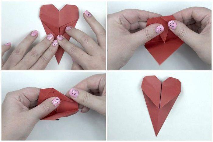 Закладка сердце: этапы складывания 5-8