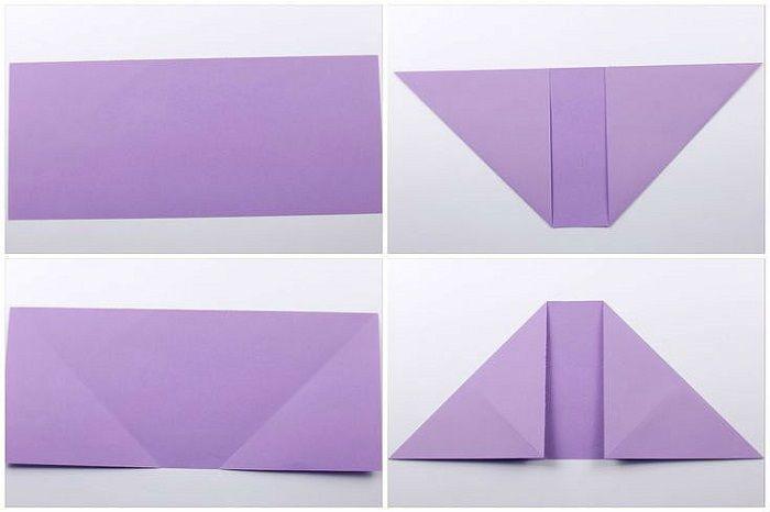 Сердце с цветком из бумаги: шаги 1-4