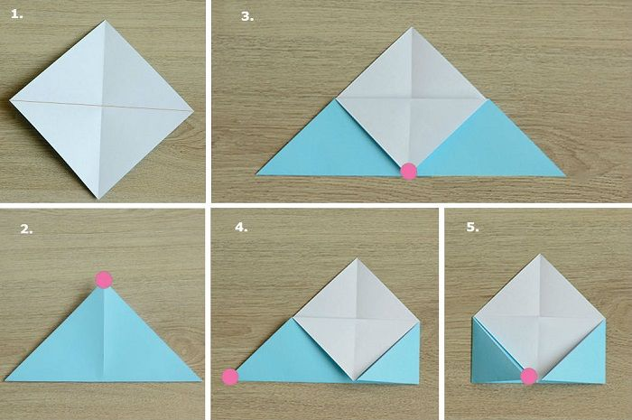 Оригами-закладка поэтапно: шаги 1-5
