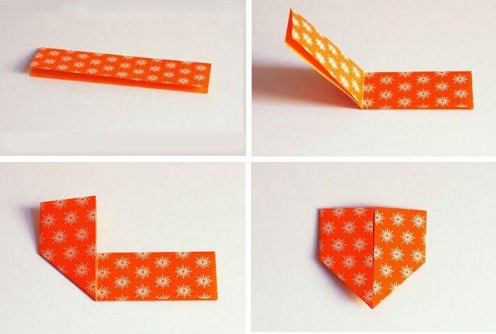 Сердечко из бумаги: шаги 1-4