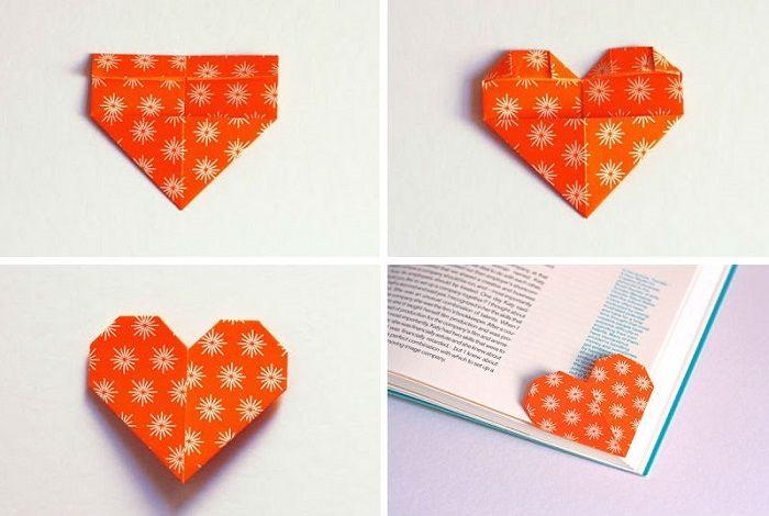 Закладка-сердечко из бумаги: шаги 5-8