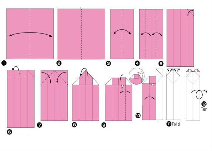 Прямая закладка-сердечко - схема